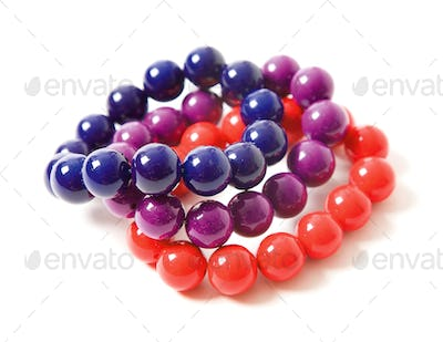 Colorful beaded bracelets still life fashion composition