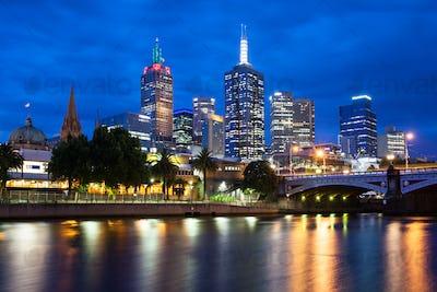 Melbourne's Skyline At Dusk