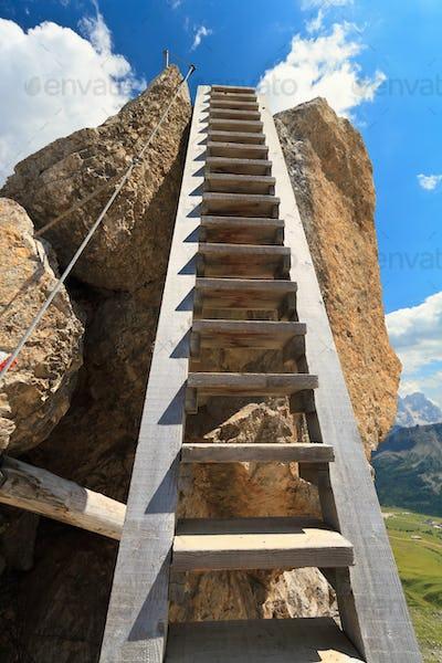 wooden ladder on via ferrata
