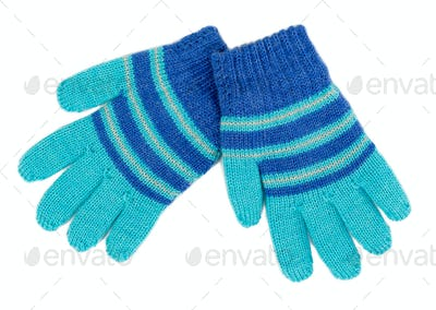 pair of blue striped knitted Gloves