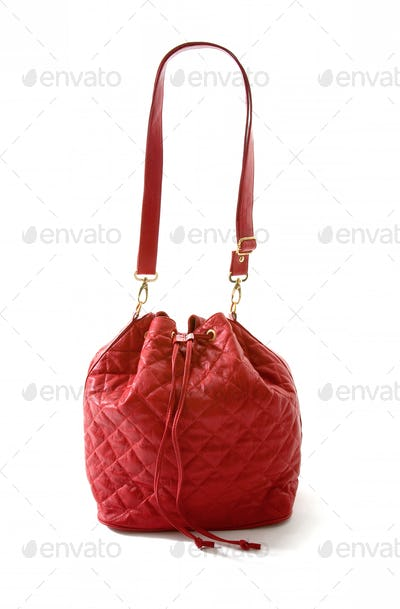Red leather padded purse