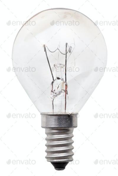 transparent incandescent light bulb
