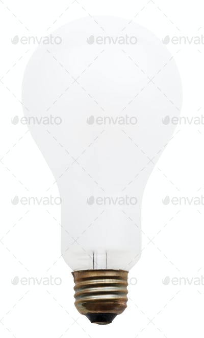 big white incandescent light bulb