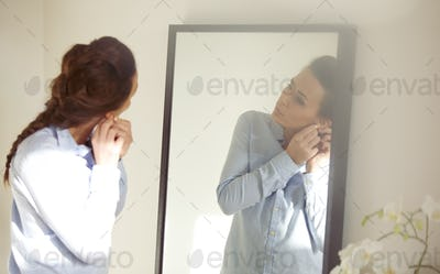Business woman getting ready for office