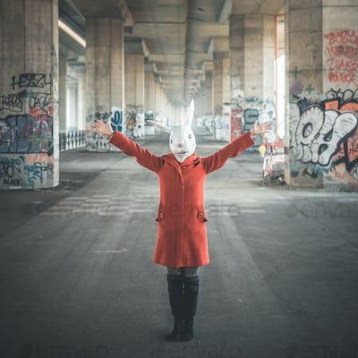 rabbit mask woman red coat