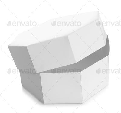 White octagon shaped box