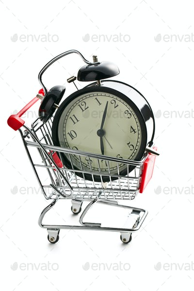 alarm clock in shopping cart