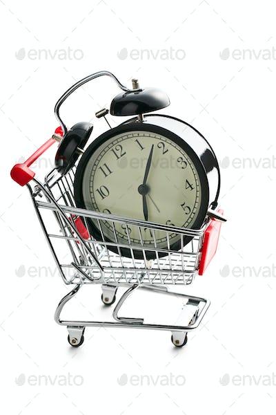 alarm clock in shopping cart
