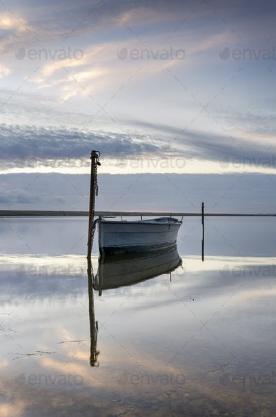 Boat on the Fleet at Dusk