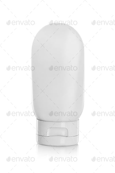 White plastic container for cosmetic product