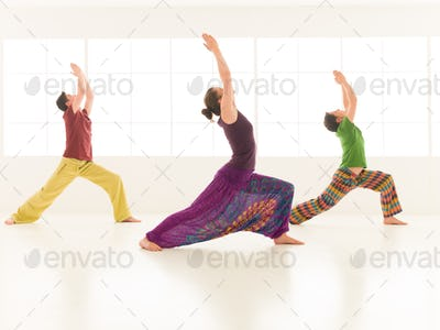 group yoga virabhadrasana