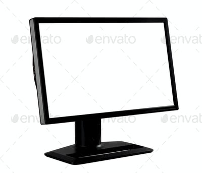 Black computer monitor stands at an angle