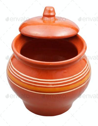 porcelain pot with half-open open lid
