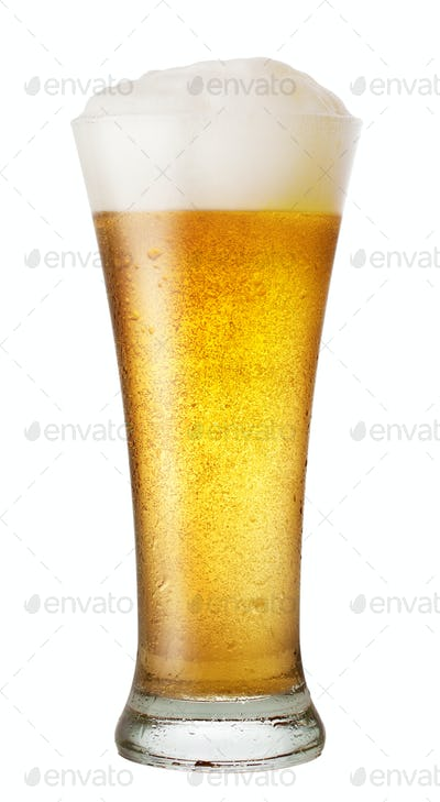 Glass of beer with drops