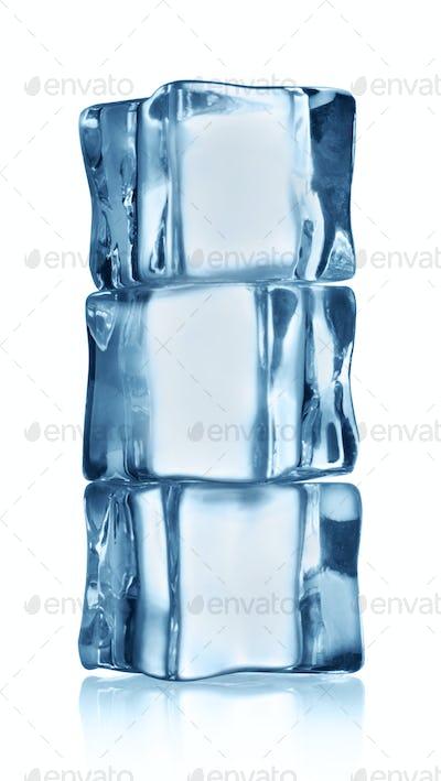 Three transparent ice cube