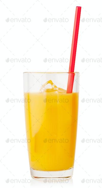 Orange juice with ice and straw