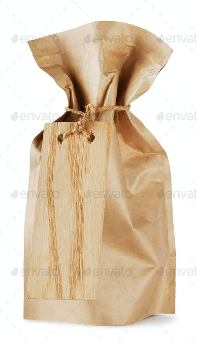 Pouch with a wooden sign