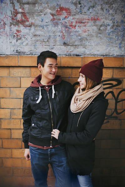Teenage couple enjoying each others company