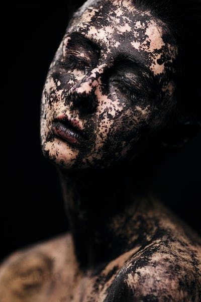 Portrait of beautiful woman - Dried skin concept
