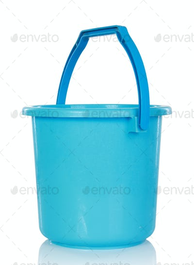 Blue plastic bucket