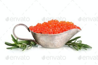 Sauceboat with red caviar