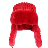 Red fur cap on a white background