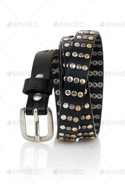 Leather belt isolated on the white