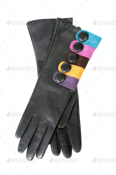 Female leather gloves on a white background