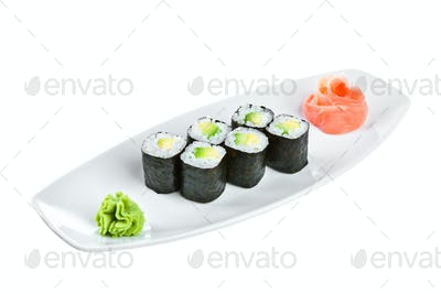 Sushi (Maguro maki roll shiroy) on a white background