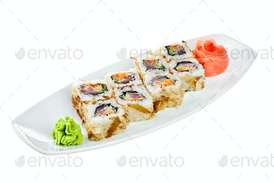 Sushi (Roll Kazuma) on a white background