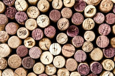 Detail of wine corks in color vintage style