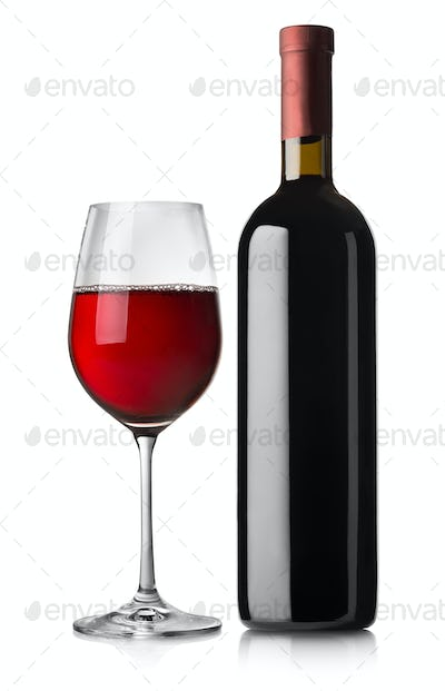 Glass and black bottle of red wine