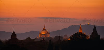 Amasing sunset over ancient Buddhist Temples at Bagan Kingdom, Myanmar, Burma