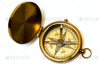 Old style brass compass