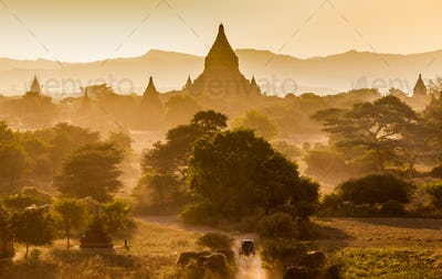 The Temples of bagan at sunrise, Bagan(Pagan), Myanmar