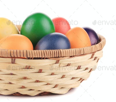 close up of Easter eggs and basket