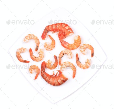 Composition of shrimps on plate.
