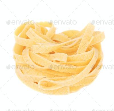 Italian pasta tagliatelle nest.