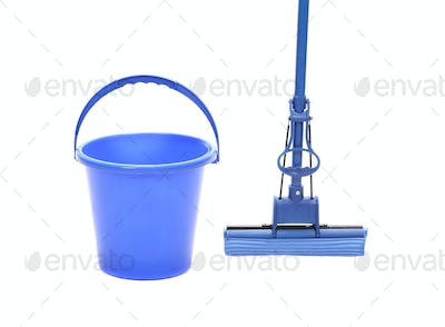 Blue bucket with sponge mop