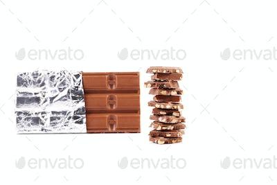 Dark chocolate bar in foil.