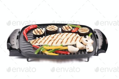 Grilled seabass with vegetables.