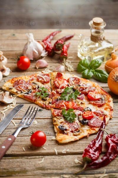 Still life of pizza