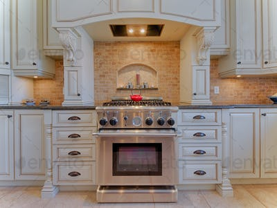 Gas stove in luxury kitchen