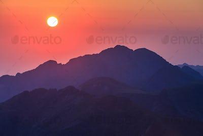 sunrise over the Fagaras Mountains, Southern Carpathians
