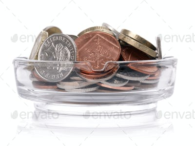 Ashtray with british currency