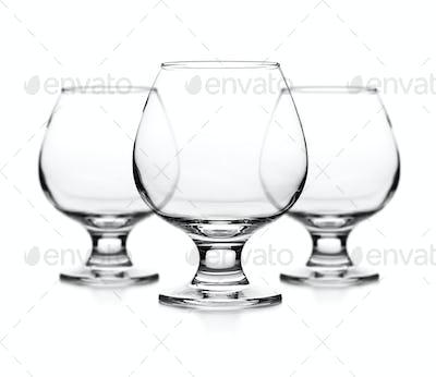 Set of empty cognac glass