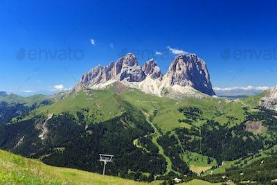 Sassolungo mount and Fassa Valley