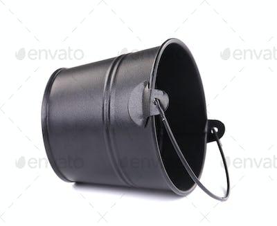 Black metal bucket.