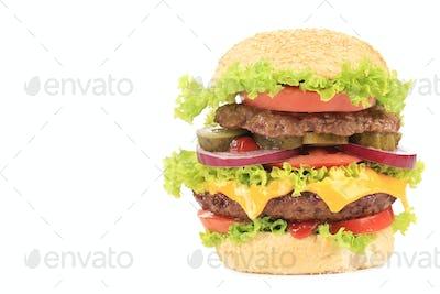 Big appetizing hamburger.
