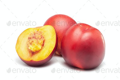 Ripe Nectarines On White Background